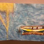 Odsev jadrnice in čolna v morju. Avtorica: Iza