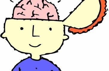 Narisan fant z nasmehom, prerezano glavo in svetlečimi možgani